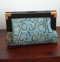 Vintage Style Snakskin Clutch Bag