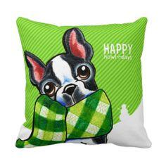 Boston Terrier Plaid Scarf Christmas Pillow