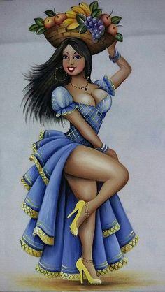Pintura em tecido | bonecas | dançarinas
