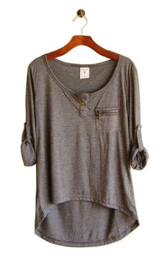 i love everything about this top! cute, casual, long in back, slouchy, gray <3