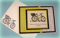 Sandi combined Patio Party dsp with First Edition dsp in this lovely card. The bike & bunny stamp plus quote is from Summer Afternoon (hostess).