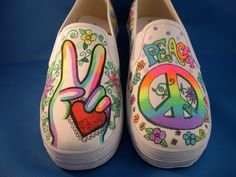 NEON Peace Custom Hand Painted Shoes  Women's size by JazzyKicks, $49.99