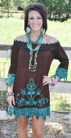 Brown Serendipity Peasant Dress with Turquoise Embroidery and Beading
