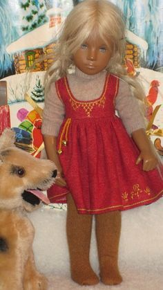Warmth of Straw for Christmas - jumper with traditional style embroidered pinafore with bells attached.
