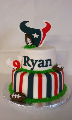 Texans Football Birthday Cake by Little Sugar Bake Shop-- cute for daddy's birthday! Texans Football, Football Birthday Cake, Birthday Cakes, 8th Birthday, Houston Texans Cake, Sport Cakes, Cupcake Cookies, Cupcakes, Character Cakes