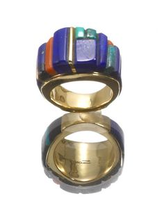 Ring | Sonwai (Hopi).  18k gold, lapis, turquoise, coral