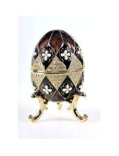 Faberge Style Egg Music Box Trinket Box by Keren Kopal Decorated with Swarovski Crystals Gold Plated Fabrege Eggs, Objets Antiques, Faberge Jewelry, Egg Crafts, Egg And I, Egg Designs, Egg Art, Egg Decorating, Russian Art