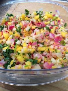 Nightshade Free Salsa: 1 Mango 1/2 medium Red Onion 7-8 Radishes (depending on size and how spicy you want your salsa to be) 1 bunch Cilantro 1/2 medium Jicama 2 cloves Garlic, minced 1 lime, juiced Salt to taste