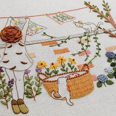 빨래너는 소녀 #프랑스자수 #부산프랑스자수 #생활자수 #자수공방 #자수타그램 #embroidery #needlework #케이블루의사계절프랑스자수 #케이블루도안
