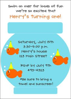 wording... Harrison's Turning Three  Parker's Turning One  Swim on over for loads of fun