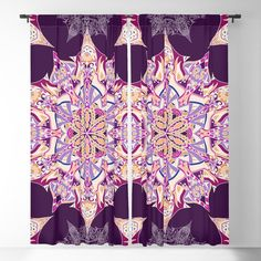 Purple mandala with star motifs Blackout Curtain Blackout Windows, Blackout Curtains, Curtain Rods, Mandala, Throw Pillows, Stars, Purple, Toss Pillows, Cushions