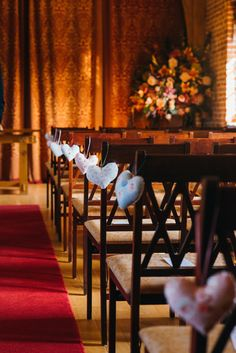 #ceremony #aisle decor with hearts on chairs - babb photo