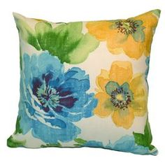Indoor/outdoor pillow with floral motif. Made in the USA.Product: PillowConstruction Material: PolyesterColor: BlueFeatures:  Made in the USA Insert includedHidden zipper closureMildew resistant fabric  Cleaning and Care: Machine washable