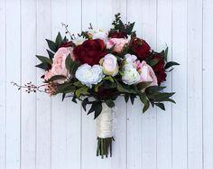 Boho Bouquet, Burgundy and Blush Bouquet, Wildflower Bouquet, Bridal Bouquet, Wedding Bouquet, Silk Bouquet