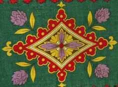 Antique Russian cotton printed for Central Asia silk road trade Pre-Soviet OOAK Multicolor ethnic geometry quilt fabric chappan coat lining