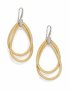 Marco Bicego Cairo Diamond & 18K Yellow Gold Double Teardrop Earrings