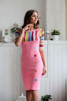 """Купить Платье """"Розовый фламинго"""" - розовый, Розовое платье, платье в полоску, платье на заказ"""