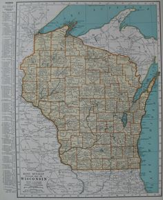 Antique WISCONSIN Map Vintage Map Of Wisconsin State Map - Us map wisconsin state