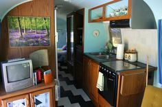sky blue & graphic floors #camper #trailer #airstream