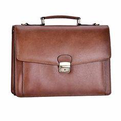 Mens Leather Briefcase Messenger Bags RUNWINDY Laptop Handbags Detachable Shoulder  Bags with Lock (Brown). fdb1f2816f