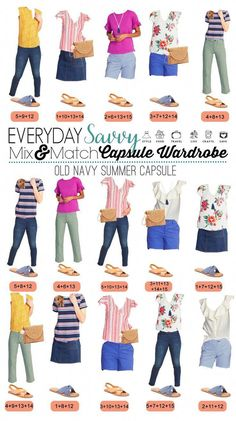 Old Navy Summer Capsule Wardrobe includes pieces to make cute casual affordable summer outfits. Floral tops, gingham shorts, jean skirt, straw clutch and more. Source by nurglarsoy Outfits shorts Fashion For Women Over 40, Black Women Fashion, Womens Fashion For Work, Winter Teacher Outfits, Summer Outfits, Cute Outfits, Navy Outfits, Denim Outfits, Matching Outfits