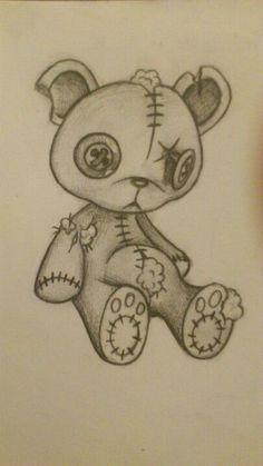 Tatty teddy bear drawing in pencil