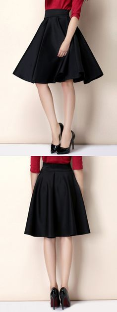 Black High Waist Skater Skirt-CHOIES
