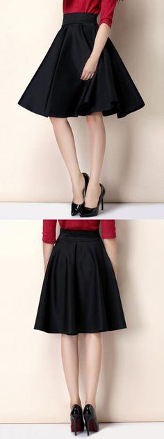 Black High Waist Skater Skirt-CHOIES