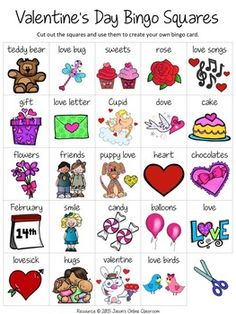"Valentine's Day Free Create Your Own Luck Bingo - This resource includes 24 Valentine's Day related images and vocabulary words and a blank ""MY BINGO CARD"" template that students can use to create their own unique Valentine's Day themed bingo cards.DOWNLOAD."