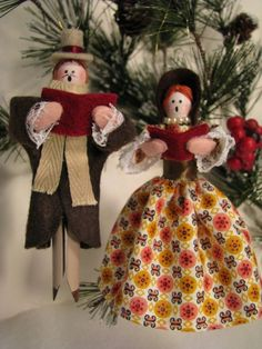 clothespin ornaments and clothing | Caroler Clothespin Ornaments by Underpinnings on Etsy