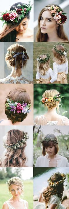 Coiffure mariage : 5 Ways to Style Your Wedding Hair Up! Flower crowns ribbon back ties and more!