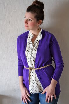 Purple Cardigan // Planning for Paris Diana Fashion, Fashion Wear, Uniqlo Style, Polka Dot Shirt, Polka Dots, Southern Fashion, Purple Cardigan, Office Looks, Dressed To Kill