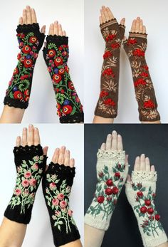 Quirky Handmade Fingerless Gloves Transform Winter Accessories Into Cozy, Wearable Art Lithuanian artisan Natalija Brancheviciene crafts handmade fingerless gloves that will make you glad you didn't wear sleeves. Atop many of the Crochet Mittens, Crochet Gloves, Knit Crochet, Crochet Granny, Crochet Wrist Warmers, Fingerless Gloves Knitted, Hand Knitting, Knitting Patterns, Knitting Tutorials