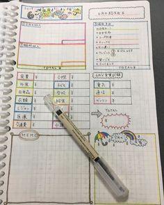 """ankom.com on Instagram: """"昨日夜中までやってた家計簿📝 * * 6月のテンプレートは梅雨バージョン☔️ * * よく家計簿の書き方でDMいただくのでまとめてみました🙏 * だいたいの書き方は変わらずだけど、我が家は電気代やら通信費、あとガソリンもクレジット払い💳 * *…"""" T Total, Notebook, Bullet Journal, Notes, Writing, Awesome, Design, Mascaras, Report Cards"""