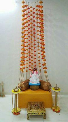 diy home decor Ganpati Decoration Design, Mandir Decoration, Ganapati Decoration, Diwali Decorations At Home, Festival Decorations, Flower Decorations, Altar, Ganesh Chaturthi Decoration, Janmashtami Decoration