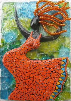 "The original description for this pin was ""Polymer clay mosaic ~ ""Wind Dancer"" by eggshelllady"" but I can't confirm any of this through the link. Who and what materials? Mosaic Wall Art, Tile Art, Mosaic Glass, Fused Glass, Glass Art, Stained Glass, Mosaic Artwork, Mosaic Mirrors, Mosaic Crafts"