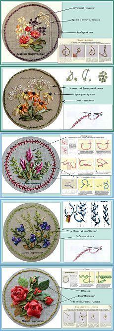 Приемы и примеры вышивки лентами - Рукоделие