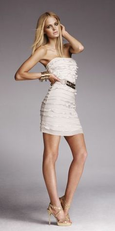 Express ruffled dress with gold belt.. love it