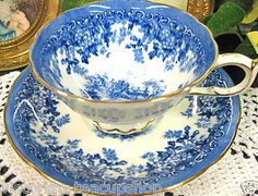PARAGON SCENES BLUE FLOWERED BANDS TEA CUP AND SAUCER DUO