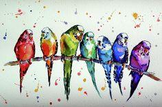 Animal Painting - Colorful Parrots by Kovacs Anna Brigitta