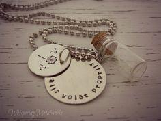 Alis Volat Propriis hand stamped metal necklace - dandelion - glass jar - Whispering Metalworks