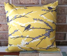 Decorative Pillows Cushion Cover - Mustard Yellow & Gray Birds - 16 x 16 Accent Throw Pillow - Baby Nursery Decor Yellow Pillows, Grey Pillows, Throw Pillows, Grey Pillow Covers, Decorative Pillow Covers, Mellow Yellow, Mustard Yellow, Gray Yellow, Bright Yellow