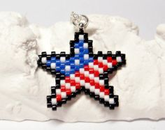 American Flag Star Necklace, Patriotic Jewelry, Red White & Blue Seed Beads