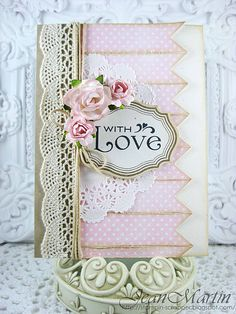 Sweet Pastel Card...with crocheted lace trim...Jean Martin card.