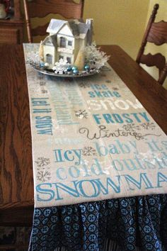 Priscillas: Winter subway art table runner  Cute idea - art on canvas - could use painters drop clothes