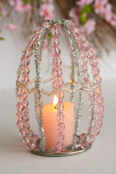 DIY: Easter  is coming. Make great Egg Votive Holders  I would use the tea lights, and be sure to use glass beads.