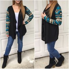 Last smallAztec print cardigan Long sleeve asymmetrical knit cardigan with Aztec print sleeves. Price is firm unless bundled. Small 2/4 Sweaters Cardigans