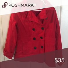 Red peacoat Very nice ! Read with black anchor ⚓️ buttons . Harve Benard Jackets & Coats Pea Coats