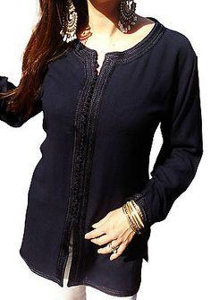Navy Blue Tunic Shirt-Sonia Style