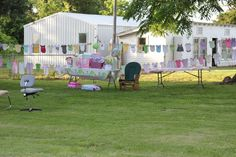 baby shower Idea, hang onsies and sleepers on a rope like a clothes line. Got the onsies and sleepers at garage sales. Outdoor Baby, Gift Table, Clothes Line, Special Events, Shower Ideas, Backdrops, Favorite Things, Celebration, Garage